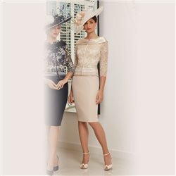Ronald Joyce 991534  Peplum Dress Almond