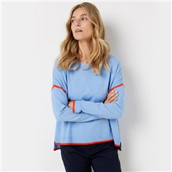 Gerry Weber Jumper With Fine Contrasting Stripe Blue