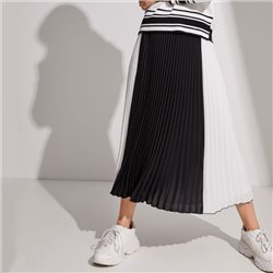 Taifun Pleated Colour Block Skirt Black