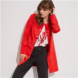 Taifun Faux Suede Jacket Red