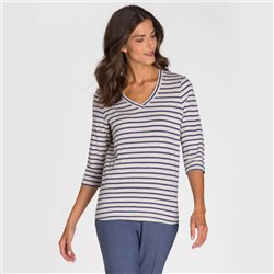 Olsen V Neck Stripe Top Beige