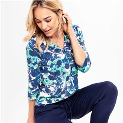 Olsen Floral Camouflage Top Green
