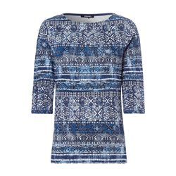 Olsen 3/4 Sleeve Graphic Top Blue