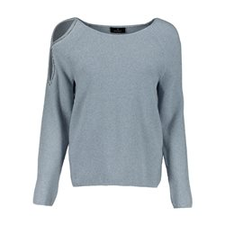 Monari Lurex Jumper With Cut Out Shoulder Blue