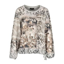 Monari Graphic Print Blouse Top Beige