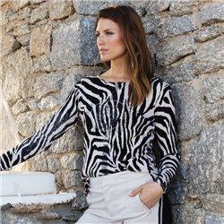 Monari Tiger Print Jumper Black