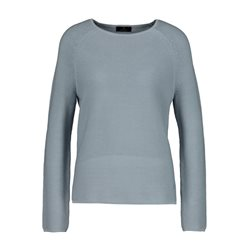Monari Round Neck Jumper With Ribbed Detail Blue