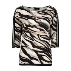Monari 3/4 Sleeve Zebra Print Top Black