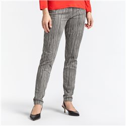 Sandwich Striped Trousers Beige