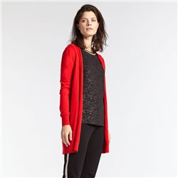 Sandwich Mid Length Cardigan Red