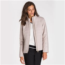Olsen Quilted Jacket With Subtle Snake Print Beige