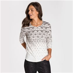 Olsen Round Neck Snake Print Top Off White