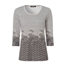 Olsen Shell Print 3/4 Sleeve Top Off White