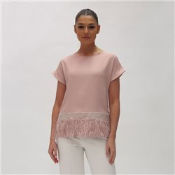 Fee G Fringe Hem Top Blush