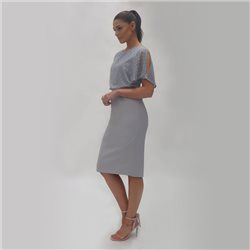 Fee G Chiffon Bodice Dress Grey