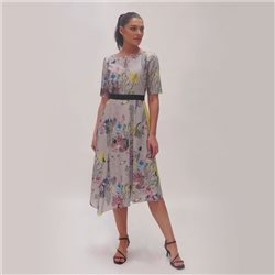 Fee G Abstract Print Dress Grey