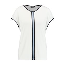 Taifun Contrast Stripe Top Off White