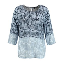 Taifun Two Tone Spot Print Top Blue