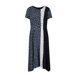 Taifun Cap Sleeve Spot Dress Blue