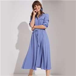 Taifun Tie Waist Shirt Dress Blue