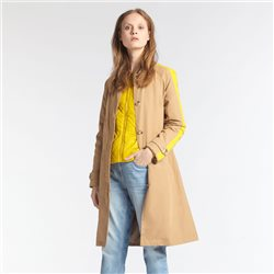 Sandwich Trench Coat With Piping Camel