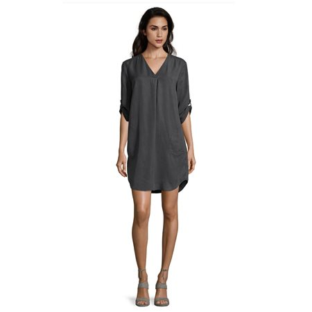 Betty & Co Lyocell Dress Grey  - Click to view a larger image