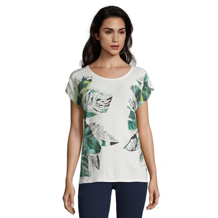 Betty & Co Leaf Print Top Cream  - Click to view a larger image