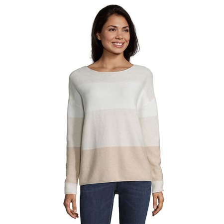 Betty & Co Colour Block Jumper Beige  - Click to view a larger image