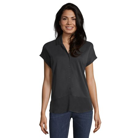 Betty & Co Collared Top Grey  - Click to view a larger image
