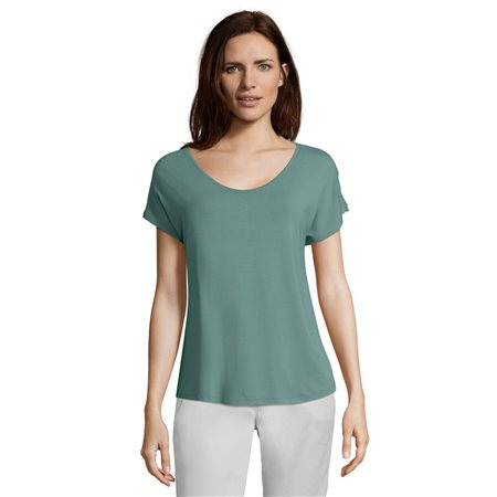 Betty & Co Scoop Neck T Shirt Green  - Click to view a larger image
