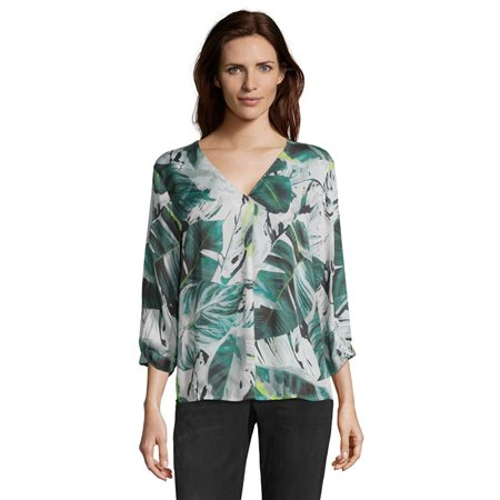 Betty & Co Leaf Print Blouse Green  - Click to view a larger image