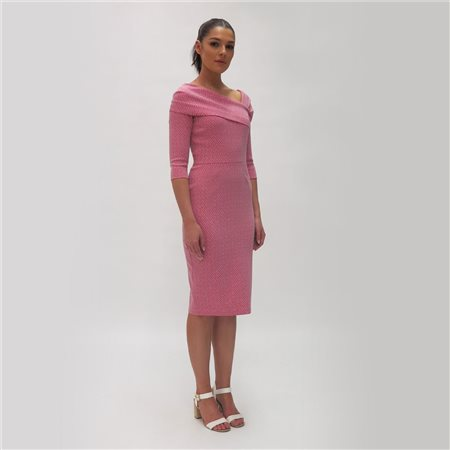 Fee G Shift Dress With Fold Neckline Pink  - Click to view a larger image