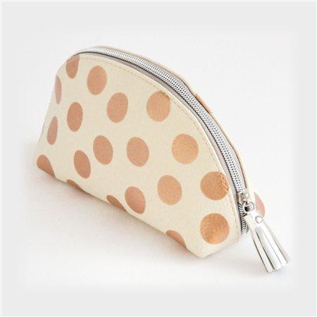 Caroline Gardner Metallic Halfmoon Cosmetic Bag Rose Gold  - Click to view a larger image