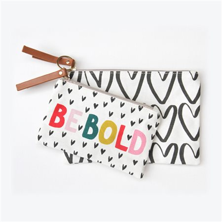 Caroline Gardner Be Bold Canvas Pouch Duo White  - Click to view a larger image