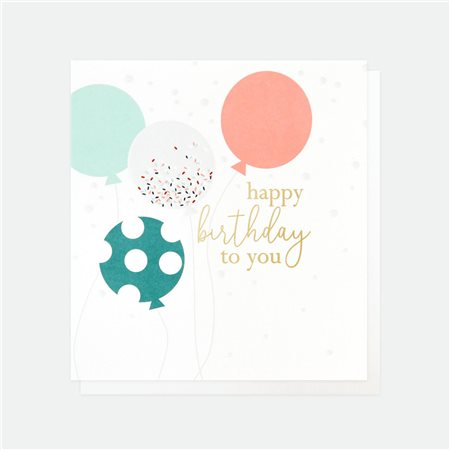 Caroline Gardner Happy Birthday To You Balloons White  - Click to view a larger image