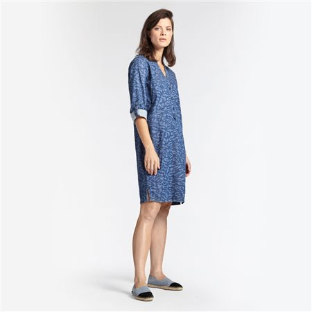 Sandwich Animal Print Dress Denim Blue  - Click to view a larger image