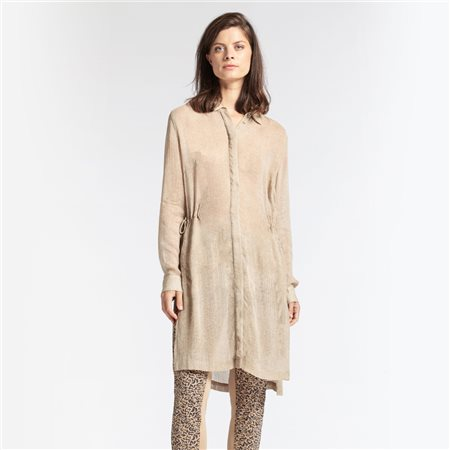 Sandwich Tunic With Drawstring Waist Camel  - Click to view a larger image
