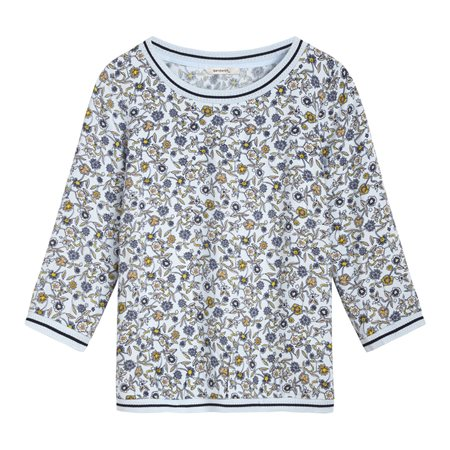 Sandwich Top With Floral Print And Striped Details Blue  - Click to view a larger image