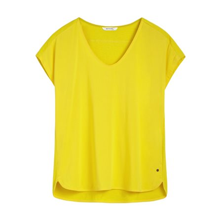 Sandwich V Neck 1/2 Sleeve Top Yellow  - Click to view a larger image