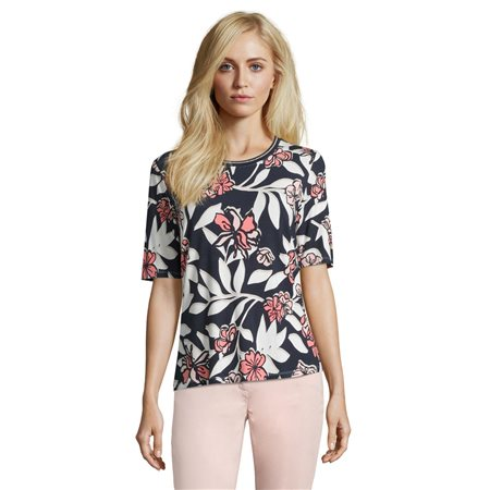 Betty Barclay Floral And Leaf Print Top Navy  - Click to view a larger image