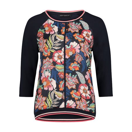 Betty Barclay 3/4 Sleeve Floral Print Top Blue  - Click to view a larger image