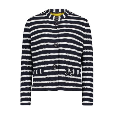 Betty Barclay Striped Knitted Jacket Navy  - Click to view a larger image