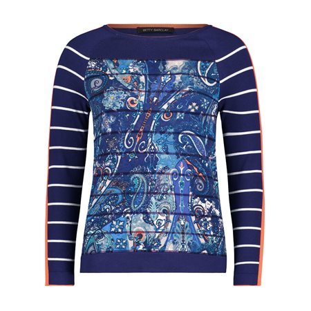 Betty Barclay Striped Sleeve Jumper Blue  - Click to view a larger image