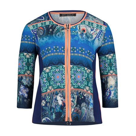 Betty Barclay Paisley Graphic Zipped Jacket Blue  - Click to view a larger image