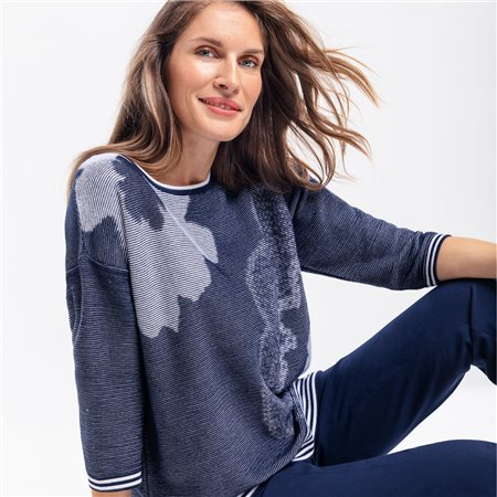 Olsen Large Flower Print Jumper Navy  - Click to view a larger image