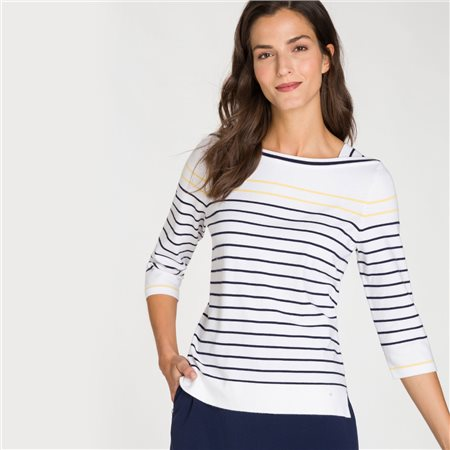 Olsen 3/4 Sleeve Stripe Jumper White  - Click to view a larger image