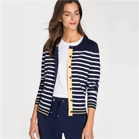 Olsen Button Striped Cardigan Navy  - Click to view a larger image