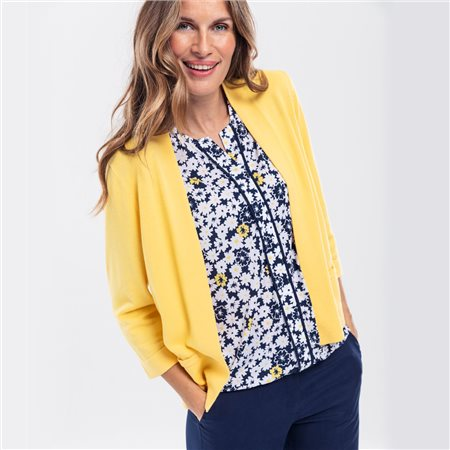 Olsen 3/4 Sleeve Open Cardigan Yellow  - Click to view a larger image