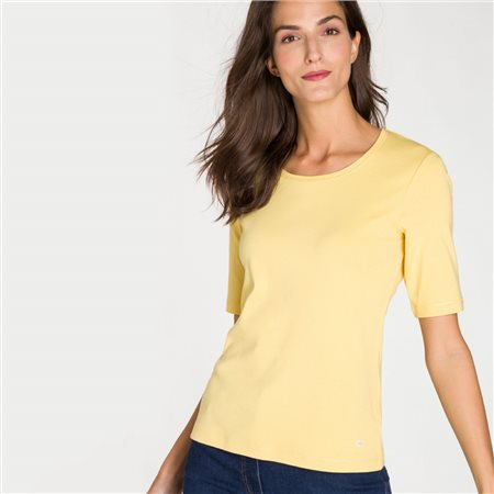 Olsen Round Neck Top With Star Detail Yellow  - Click to view a larger image