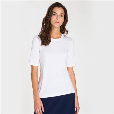 Olsen Waved Edge Neckline Top White  - Click to view a larger image